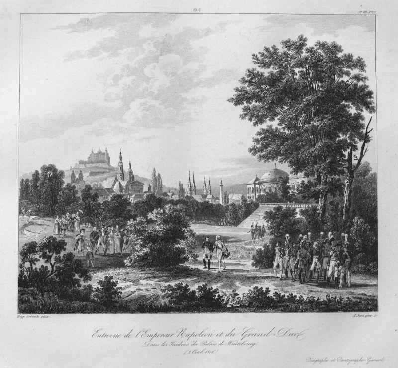 Entrevue de l'Empereur Napoleon et du Grand duc dans les Jardins du Oalais de Wurtzbourg (2 Octob. 1806) - Nap