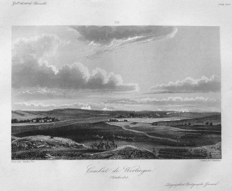 Combat de Wertingen. 8 Octobre 1805 - Wertingen Schlacht battle 8 Oktober 1805 Bayern Bavaria Ansicht view Sta