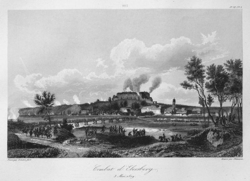 Combat d'Ebersberg 3 Mai 1809 - Ebersberg Schlacht battle 3 Mai 1809 Bayern Bavaria Ansicht view Stahlstich st