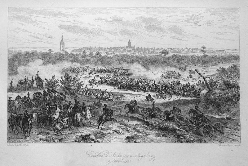 Combat d'Aicha pres Augsbourg 9 Octobre 1805 - Aichach Augsburg Napoleon Schlacht battle 9 Oktober 1805 Ansich