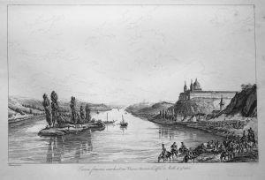 L'armee francaise marchant sur Vienne traverse le defile de Maelk 10 9.bre 1805 - Wien Vienna Napoleon Armee a