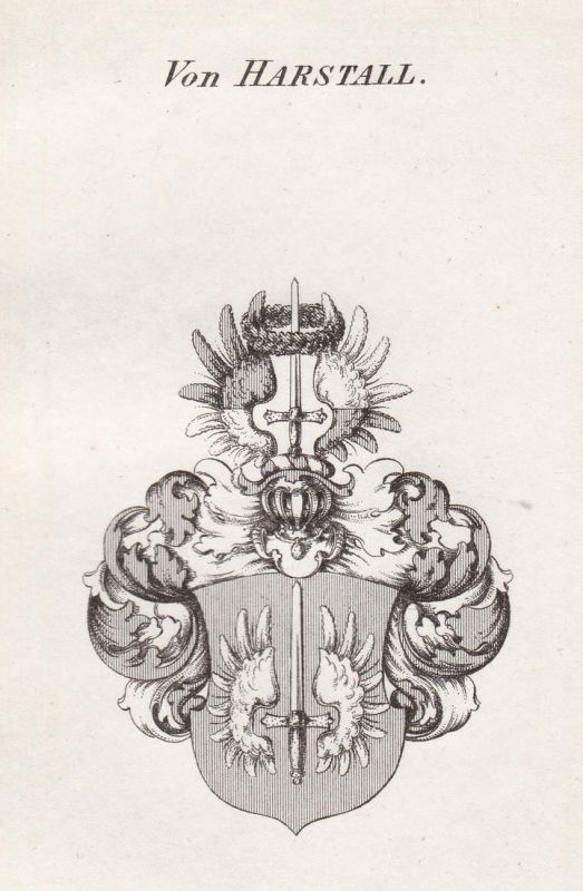 Von Harstall - Harstall Thüringen Wappen Adel coat of arms heraldry Heraldik Kupferstich antique print