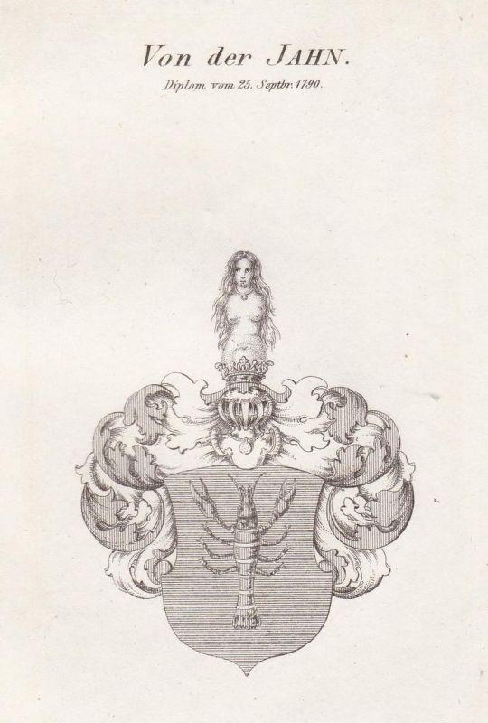 Von der Jahn. Diplom vom 25 Septbr. 1790 - Jahn Wappen Adel coat of arms heraldry Heraldik Kupferstich antique