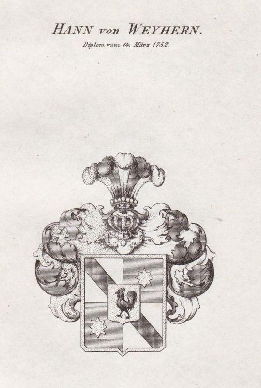 Hann von Weyhern. Diplom vom 14. März 1752 - Hann von Weyhern Wappen Adel coat of arms heraldry Heraldik Kupfe