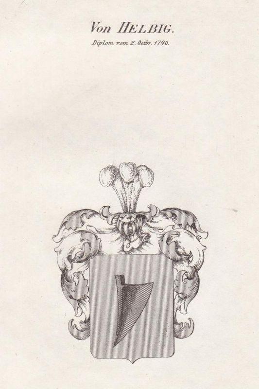 Von Helbig. Diplom vom 2. Octbr. 1790 - Helbig Hilbig Helwig Wappen Adel coat of arms heraldry Heraldik Kupfer