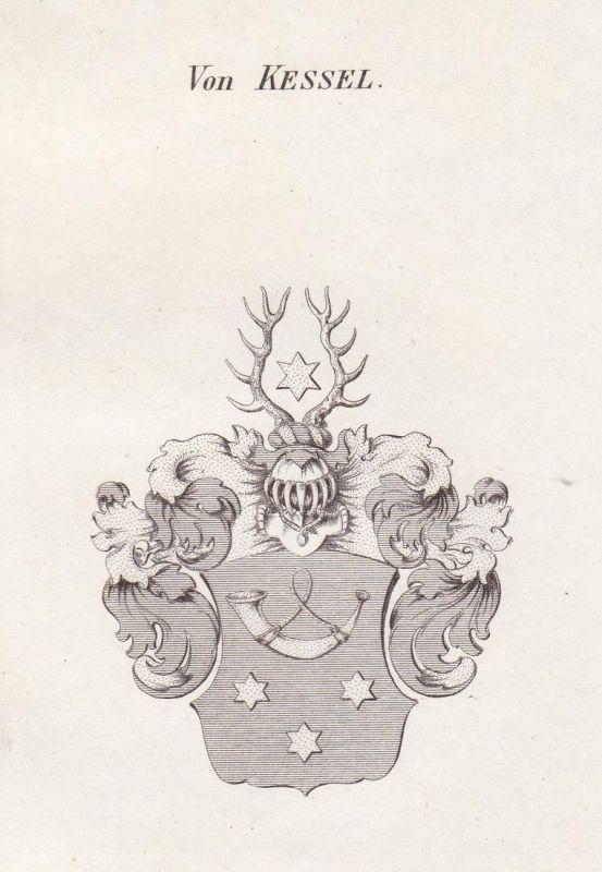 Von Kessel - Kessel Thüringen Wappen Adel coat of arms heraldry Heraldik Kupferstich antique print