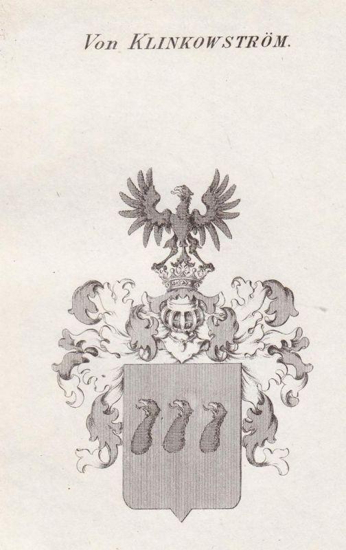 Von Klinkowström - Klinckowström Klinkowström Wappen Adel coat of arms heraldry Heraldik Kupferstich antique p 0