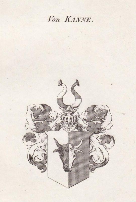 Von Kanne - Kanne Wappen Adel coat of arms heraldry Heraldik Kupferstich antique print 0