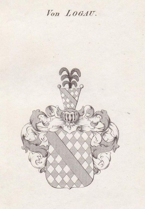 Von Logau - Logau Logaw Schlesien Wappen Adel coat of arms heraldry Heraldik Kupferstich antique print 0