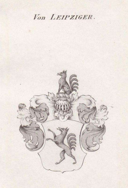 Von Leipziger - Leipziger Leipzig Wappen Adel coat of arms heraldry Heraldik Kupferstich antique print 0