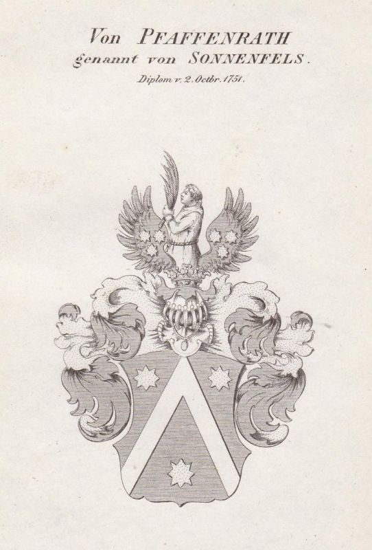 Von Pfaffenrath genannt von Sonnenfels. Diplom v. 2 Octbr. 1751 - Pfaffenrath von Sonnenfels Wappen Adel coat