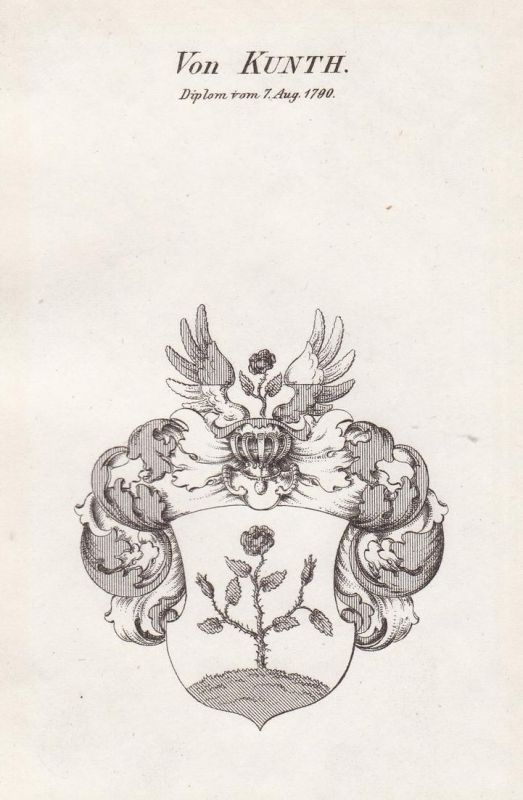 Von Kunth. Diplom vom 7 Aug. 1790 - Kunth Kunt Wappen Adel coat of arms heraldry Heraldik Kupferstich antique