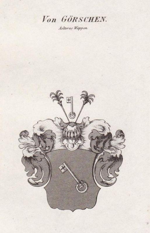 Von Görschen. Aelteres Wappen - Görschen Sachsen-Anhalt Wappen Adel coat of arms heraldry Heraldik Kupferstich