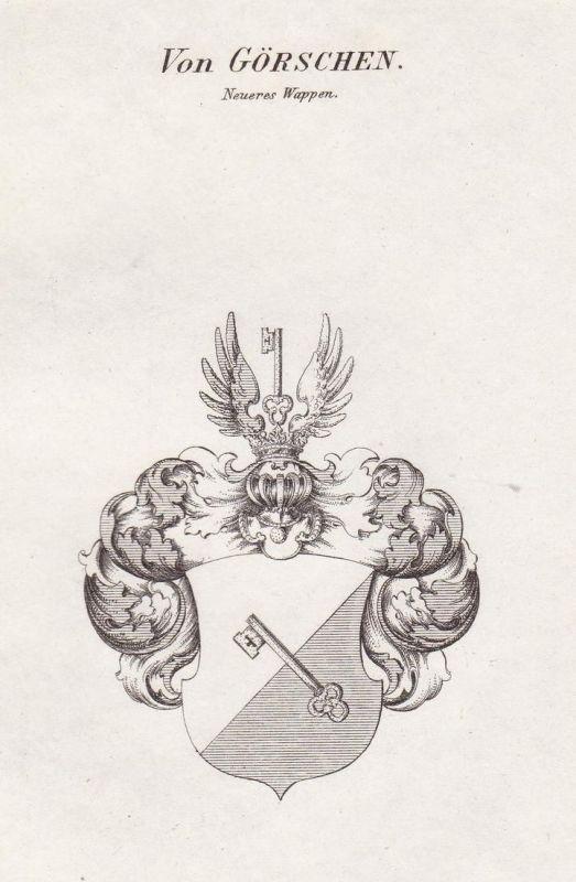 Von Görschen. Neueres Wappen - Görschen Sachsen-Anhalt Wappen Adel coat of arms heraldry Heraldik Kupferstich