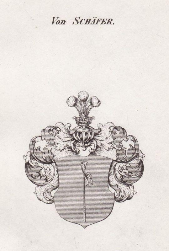 Von Schäfer - Schäfer Schäffer Schaefer Wappen Adel coat of arms heraldry Heraldik Kupferstich antique print 0