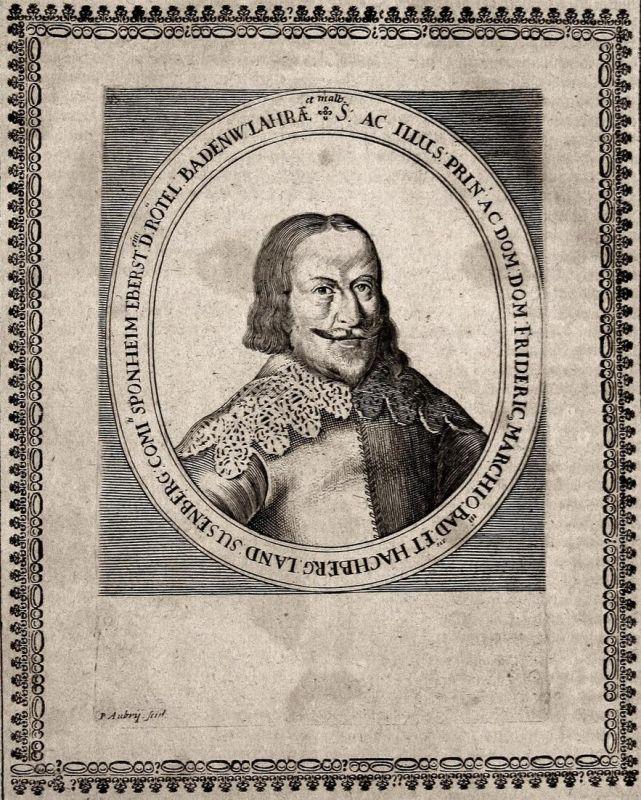 Frideric Marchio Bad et Hachberg - Friedrich V. Baden-Durlach Graf earl gravure Portrait Kupferstich copper en