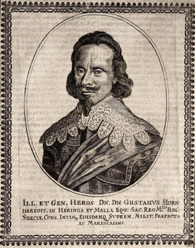 Gustavus Horn - Gustaf Karlsson Horn Björneborg Graf earl gravure Portrait Kupferstich copper engraving antiqu 0