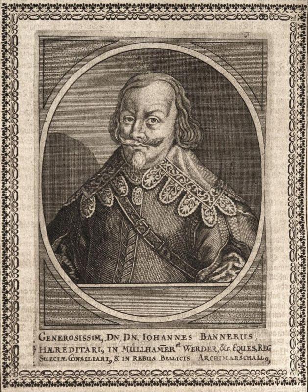 Iohannes Bannerus - Johan Banér Schweden Sweden Marschall marshal gravure Portrait Kupferstich copper engravin 0