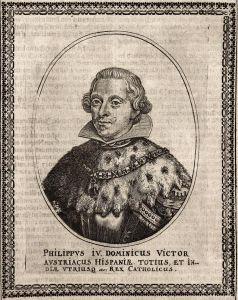 Philippus IV - Philipp IV. Spanien Espana Portugal König king gravure Portrait Kupferstich copper engraving an