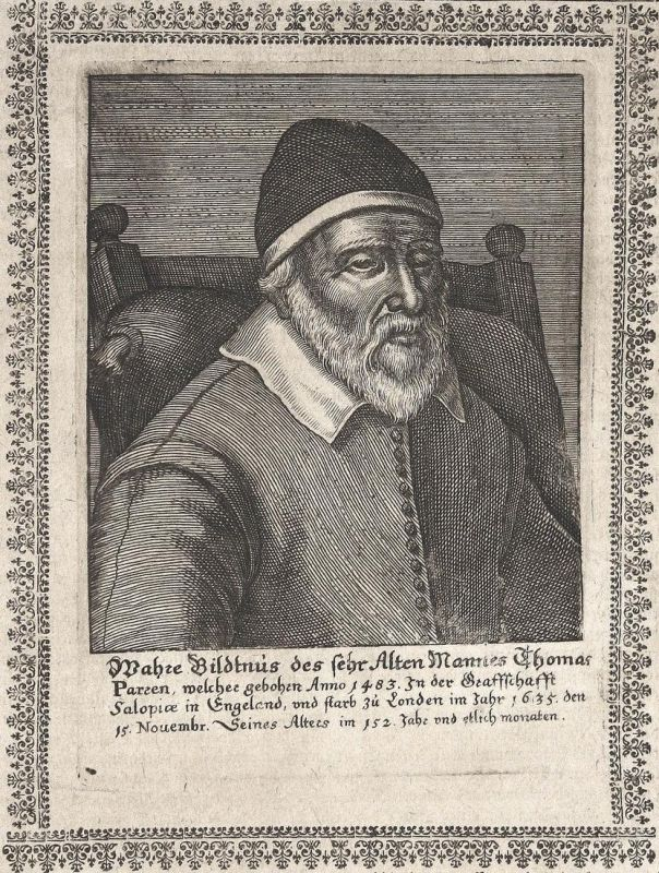 Wahre Bildnis des sehr Alten Mannes Thomas Parsen - Thomas Parsen London England gravure Portrait Kupferstich
