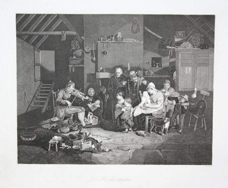 Der Blinde Spieler - Geige violin Violinist Geiger Stahlstich steel engraving antique print