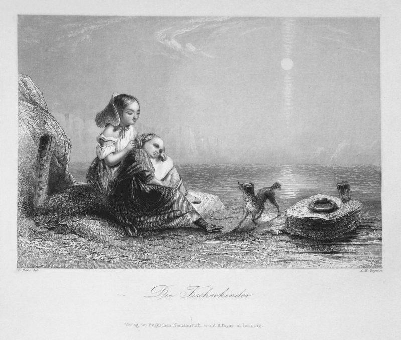 Die Fischerkinder - Kinder children Fischerkinder Hund dog Meer sea Stahlstich steel engraving antique print