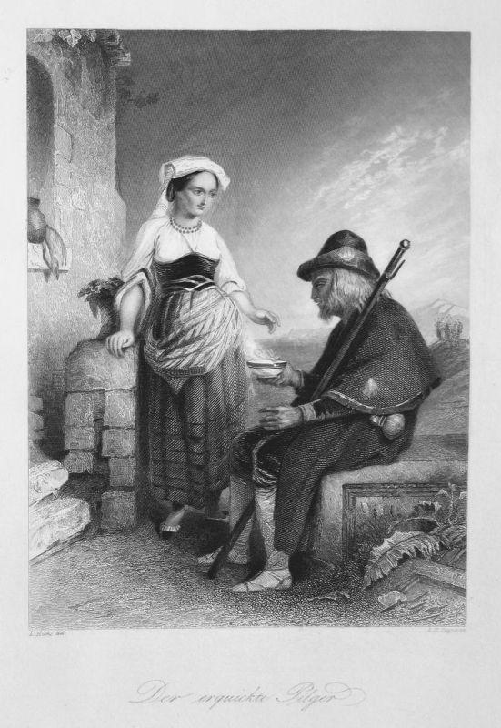 Der erquickte Pilger - Pilger pilgrim Erholung recreation Suppe soup Frau woman Stahlstich steel engraving ant