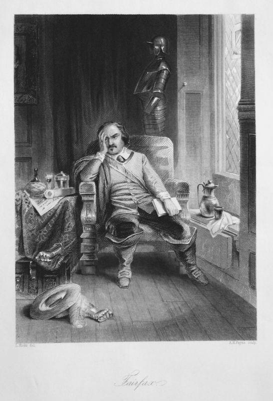 Fairfax - Mann Stuhl man chair Fairfax Tracht costume Stahlstich steel engraving antique print