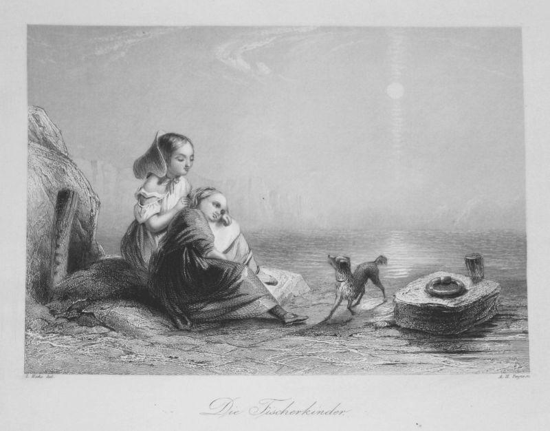 Die Fischerkinder - Fischerkinder Kinder children Hund dog Meer sea Stahlstich steel engraving antique print