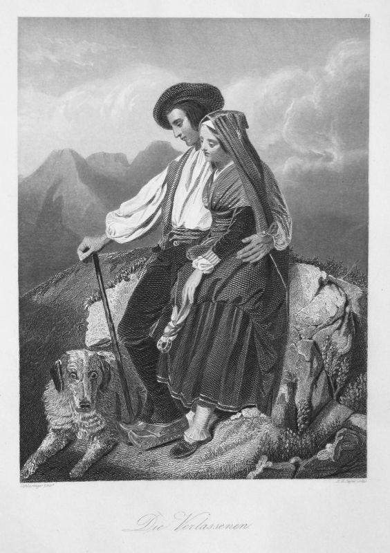 Die Verlassenen - Ehepaar couple Hund dog Berge mountains verlassen leave Stahlstich steel engraving antique p