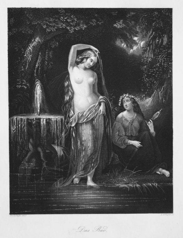 Das Bad - Bad bath Frauen women Akt nackt nude baden bathing Stahlstich steel engraving antique print