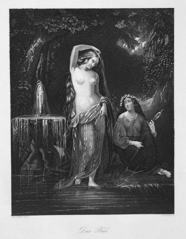 Das Bad - Bad bath Frauen women baden bathing Akt nackt nude Stahlstich steel engraving antique print