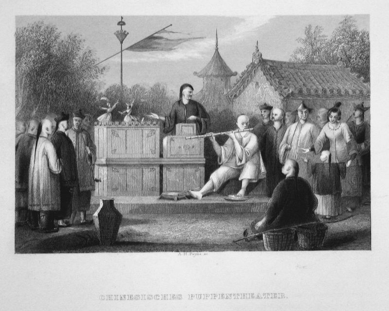 Chinesisches Puppentheater - Puppentheater China Theater puppet theatre Asien Asia Stahlstich steel engraving
