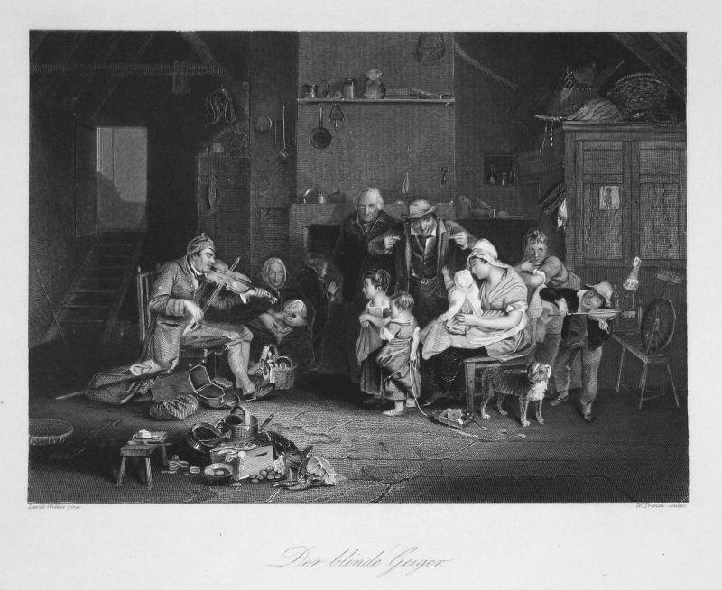Der Blinde Spieler - Geige Geiger violin Violinist Musiker musician Stahlstich steel engraving antique print