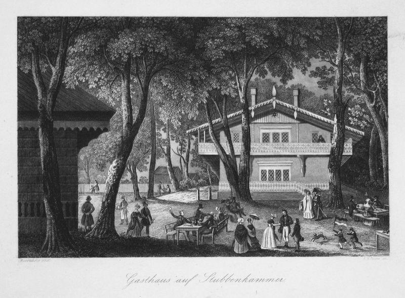 Gasthaus auf Stubbenkammer - Gasthaus Waschstein Stubbenkammer Rügen Ansicht view Stahlstich steel engraving a