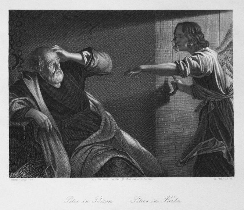 Peter in Prison / Petrus im Kerker - Simon Petrus Kerker prison Bischof bishop Stahlstich steel engraving anti