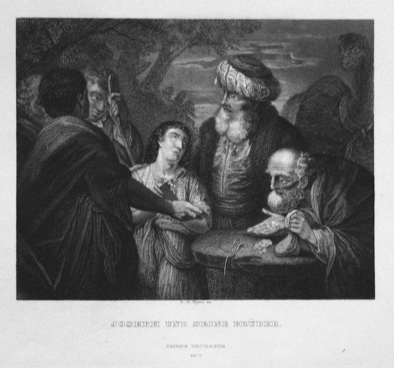 Joseph und seine Brüder - Joseph brothers Brüder men Männer Stahlstich steel engraving antique print