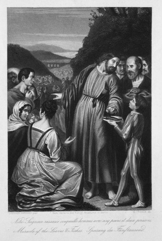 Notre-Seigneur rassasie cinqmille hommes avec cinq pains et deux poissons. / Miracle of the Loaves & Fishes. /