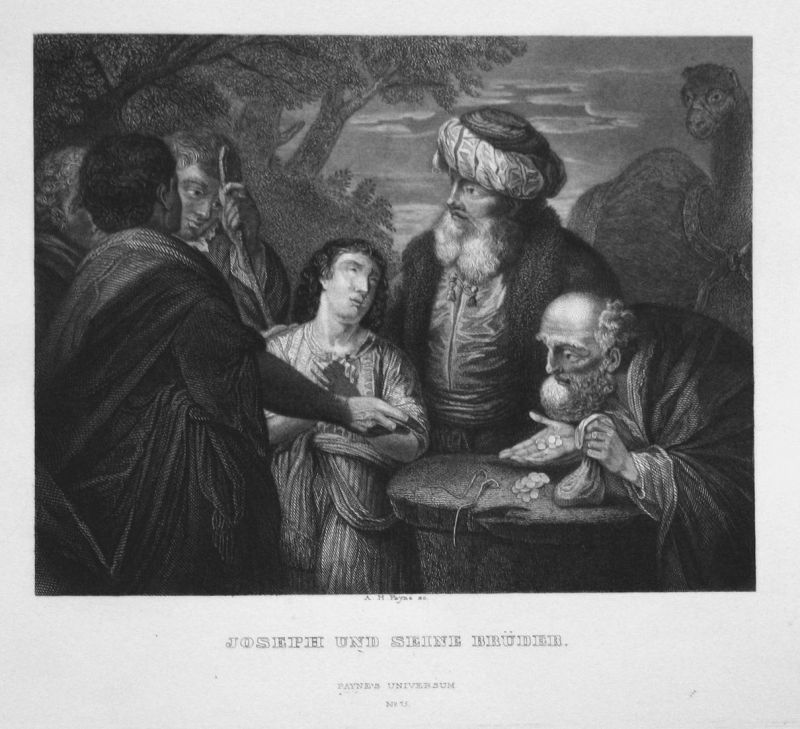 Joseph und seine Brüder - Joseph Brüder Männer men brothers Stahlstich steel engraving antique print