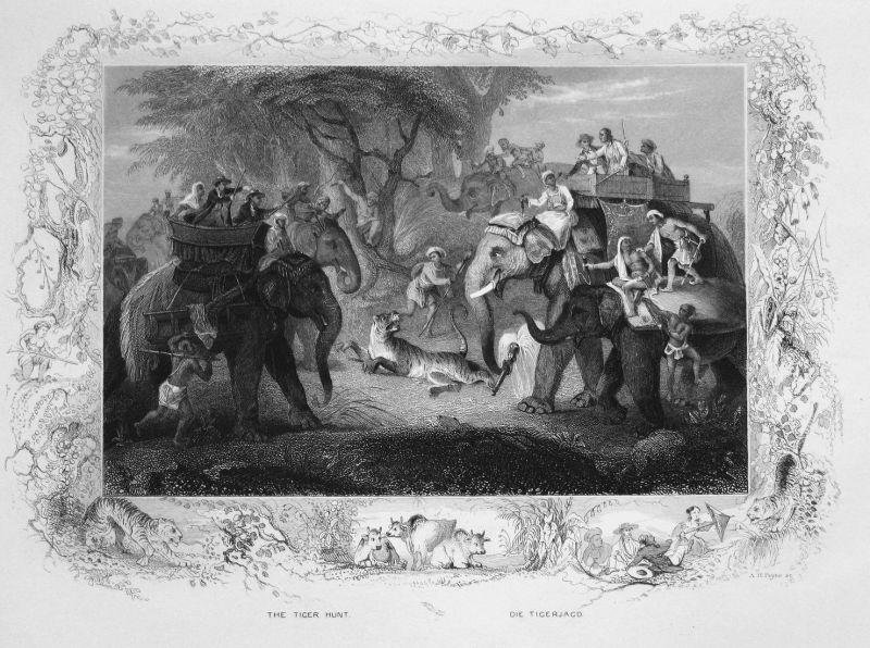 The Tiger Hunt / Die Tigerjagd - Tigerjagd tiger hunting Tiger Elefant elephant Asia Asien Stahlstich steel en