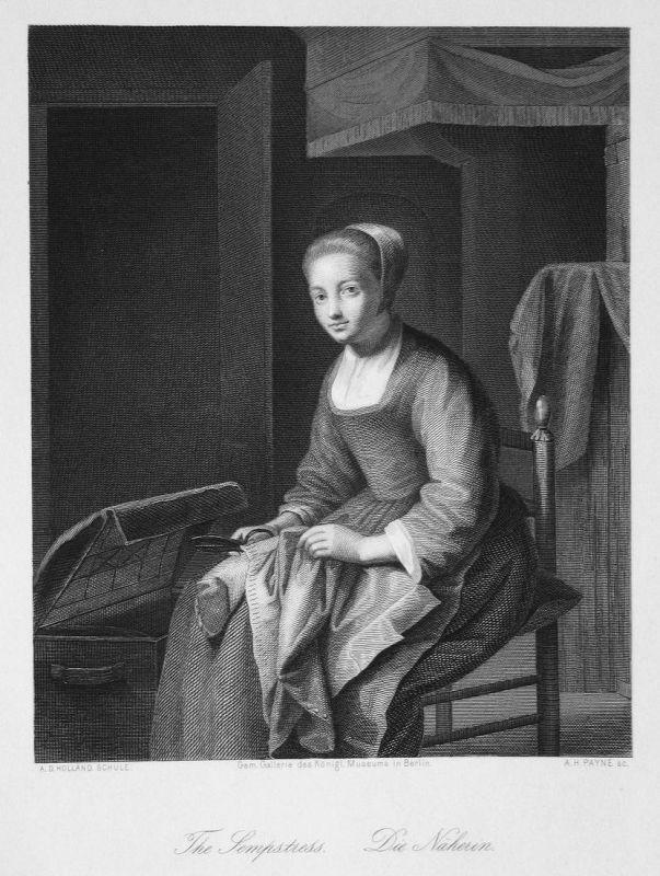 The Sempstress. / Die Näherin. - Näherin seamstress Nähen sew Schneiderin Stahlstich steel engraving antique p