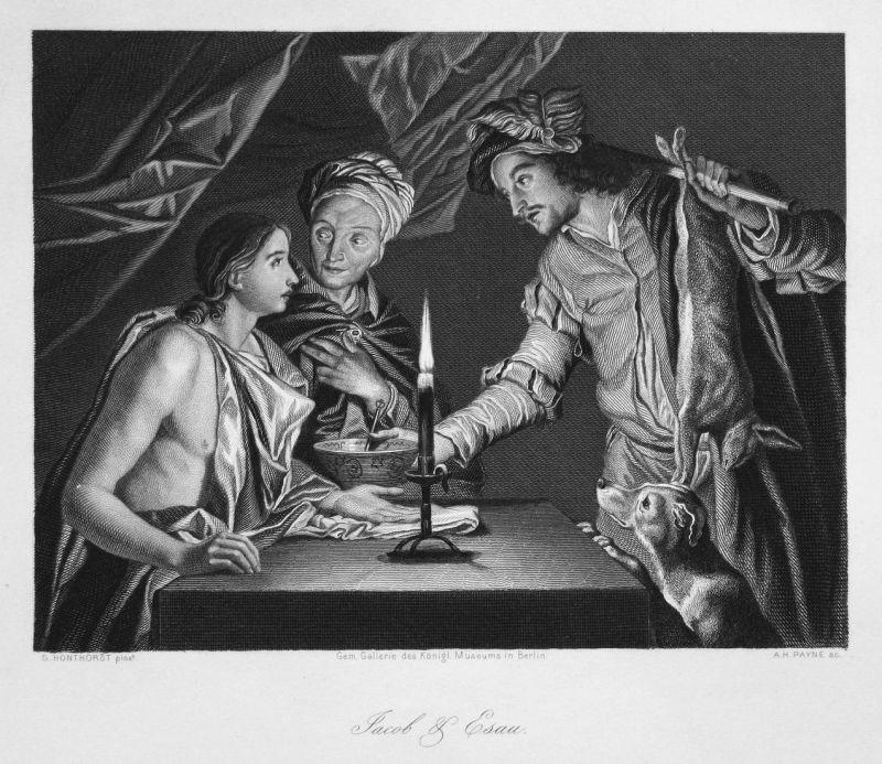 Jacob & Esau - Jacob Esau Zwillinge twins Geschwister siblings Stahlstich steel engraving antique print