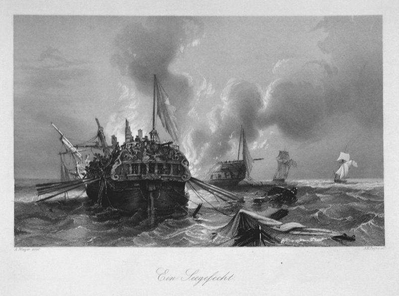 Ein Seegefecht - Schifffahrt Schiffe ships Schlacht battle Seefahrt See Ansicht view Stahlstich steel engravin