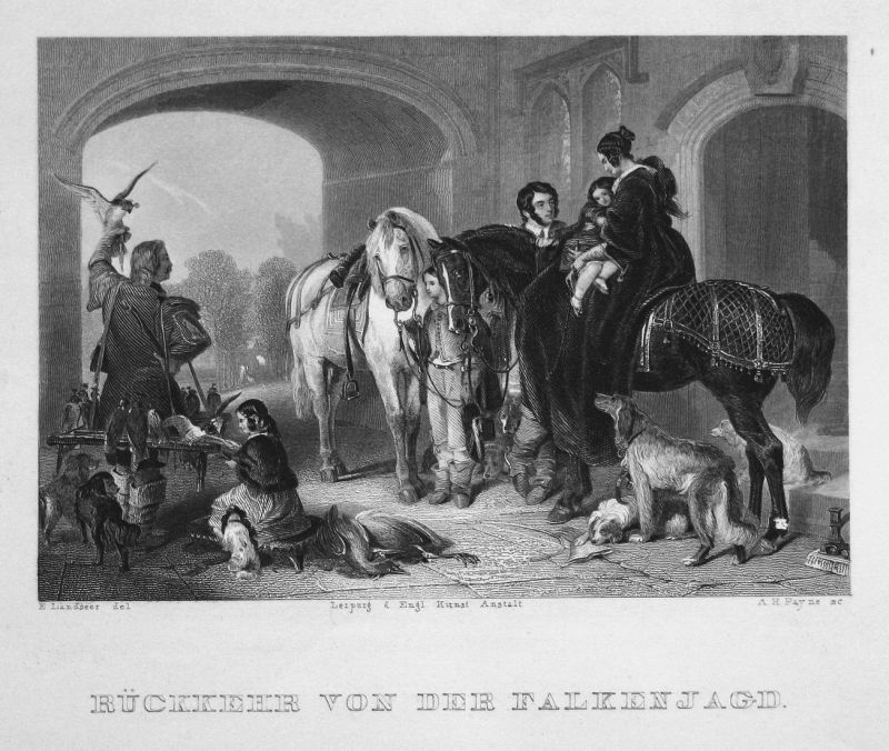 Rückkehr von der Falkenjagd - Rückkehr return Falken hawk Jagd hunt Pferde horses Hunde dogs Stahlstich steel