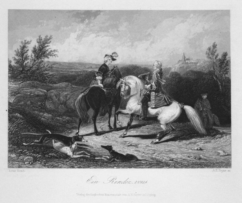 Ein Rendez-vous - Rendezvous Treffen meeting Männer men Pferde horses Stahlstich steel engraving antique print