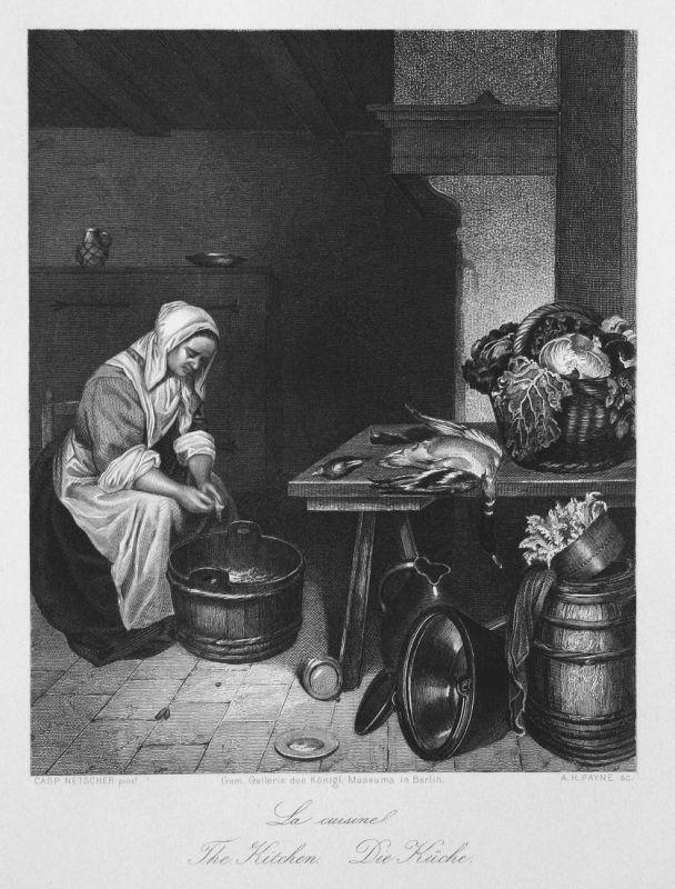La cuisine. / The Kitchen. / Die Küche. - Küche kitchen kochen cook Ente duck Salat salad Stahlstich steel eng