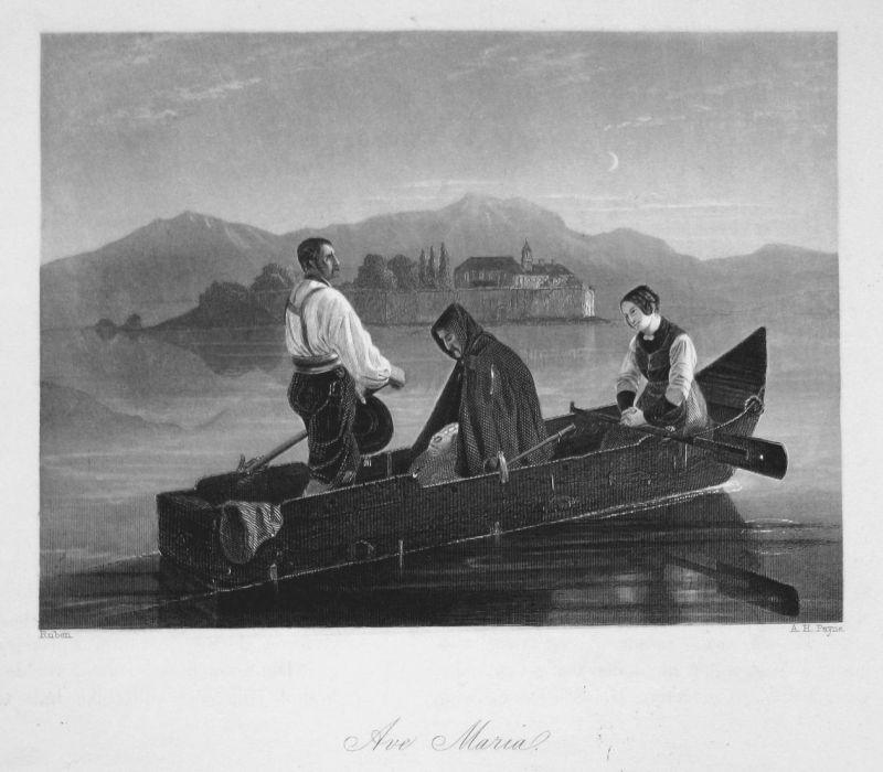 Ave Maria - Boot Männer men Frau woman Bootsfahrt boat trip Stahlstich steel engraving antique print