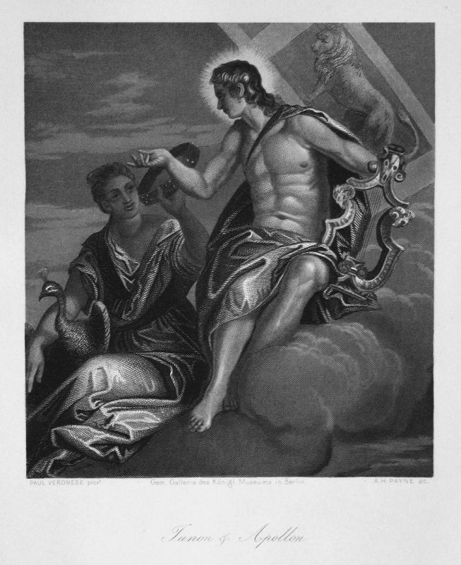 Junon & Apollon - Juno Königin queen Apollo Gott Griechenland Greece Stahlstich steel engraving antique print 0