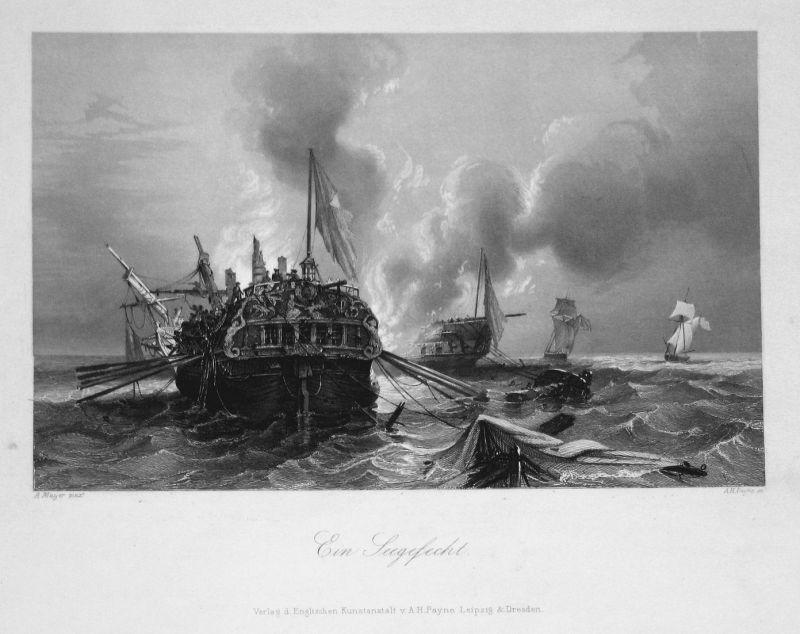Ein Seegefecht - Schlacht battle Seefahrt Schiffe ships Schifffahrt See Ansicht view Stahlstich steel engravin