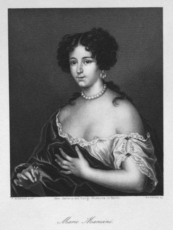 Marie Mancini - Maria Mancini Mätresse mistress Geliebte lover Portrait portrait Stahlstich steel engraving an